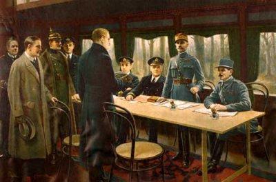 Signature de l'armistice le 11 novembre 1918